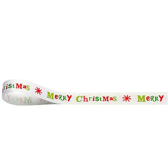 White Merry Christmas Ribbon for Crafts 10mm x 10M