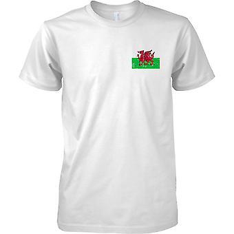 Welsh Dragon Distressed Grunge Effect Flag Design - Mens Chest Design T-Shirt