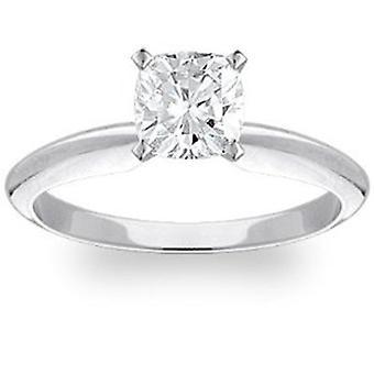 Cojín de 1ct solitario anillo 14K oro blanco