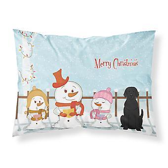 Merry Christmas Carolers Black Labrador Fabric Standard Pillowcase
