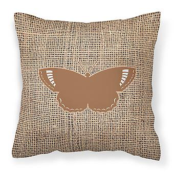 Butterfly Burlap and Brown   Canvas Fabric Decorative Pillow BB1029