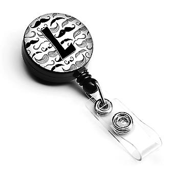 Letter L Moustache Initial Retractable Badge Reel