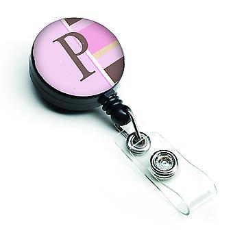 Buchstaben P erste Monogramm - rosa Streifen versenkbare Abzeichen Reel