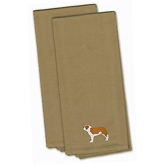 Saint Bernard Tan Embroidered Kitchen Towel Set of 2