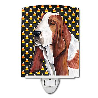 Basset Hound Candy Corn Halloween Portrait Ceramic Night Light