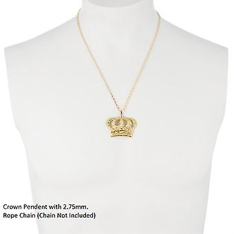 10k Yellow Gold Open Big Crown Charm Pendant with Diamond Cut Design
