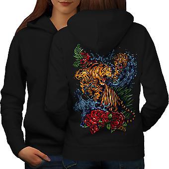 Wild Tiger Women BlackHoodie Back | Wellcoda