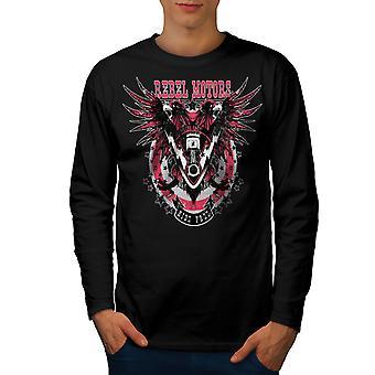 Rebel Motors Club Biker Männer BlackLong Sleeve T-shirt   Wellcoda
