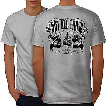 Not All Wander Slogan Men GreyT-shirt Back | Wellcoda