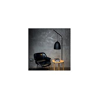 Ideal Lux Modern Nero Black Tall Lamp Integrated With Small Pine Table, Piano