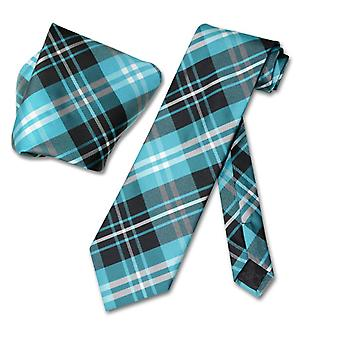Vesuvio Napoli PLAID NeckTie & Handkerchief Neck Tie Set