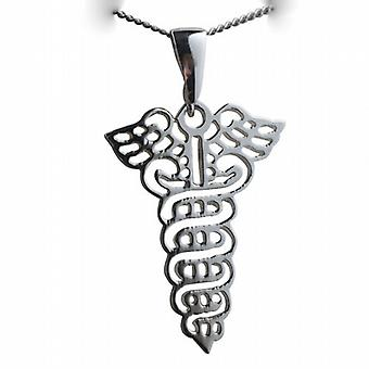 Silver 35x25mm Pierced Medical emblem Pendent on a bail with a curb Chain 24 inches