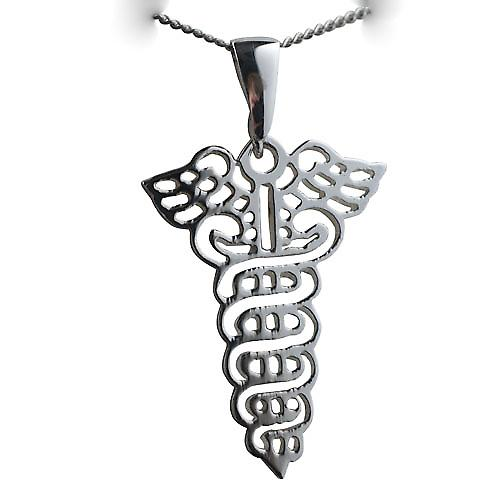 Silver 35x25mm Pierced Medical emblem Pendent on a bail with a curb Chain 20 inches