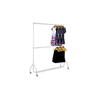2 Tier 6ft Extendable White Heavy Duty Clothes Rail