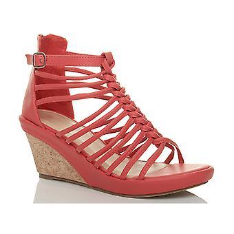 Ajvani womens strappy gladiator platform peep toe high heel wedge sandals