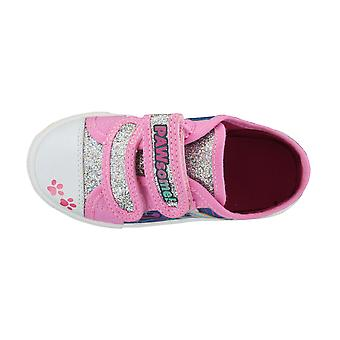 Paw Patrol Pink with Silver Glitter Hook and Loop Trainers UK Sizes 5 -10