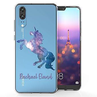 Huawei P20 Blue Unicorn Personalised TPU Gel Case