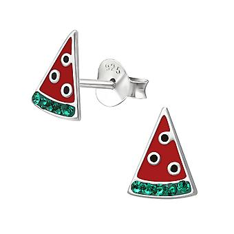 Watermelon - 925 Sterling Silver Crystal Ear Studs - W36649x