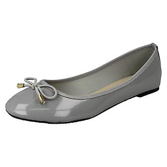 Ladies Spot On Patent Ballerina Shoes F80388 - Grey Synthetic Patent - UK Size 3 - EU Size 36 - US Size 5