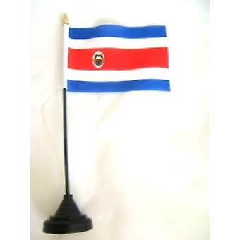 Costa Rica Table Flag with Stick and Base