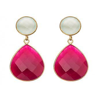 Gemshine - ladies - earrings - 925 silver plated - chalcedony - Rubin - sea green - red - 4 cm