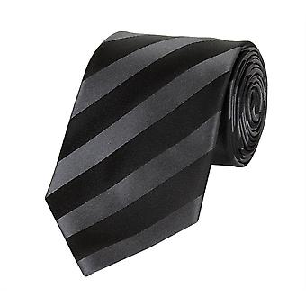 Tie tie tie tie 8cm black dark grey striped Fabio Farini