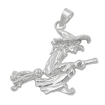 Pendant silver pendant witch on broomstick witch pendant Silver 925