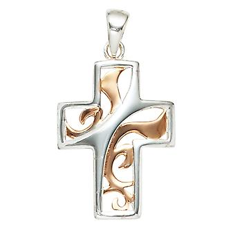 Gold-plated cross pendant 925 sterling silver cross pendant bicolor