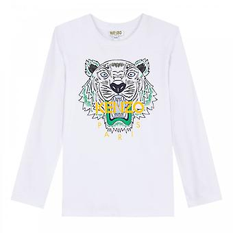 Kenzo juniorer Tiger Face Print JB 2 T-Shirt (vit)
