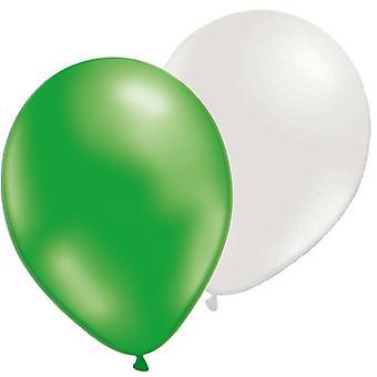 Mix balloons 12-pack green metallic/Pearl White