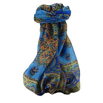 Шелковица шелка традиционный длинный шарф Cauver голубой, пашмины & шелка