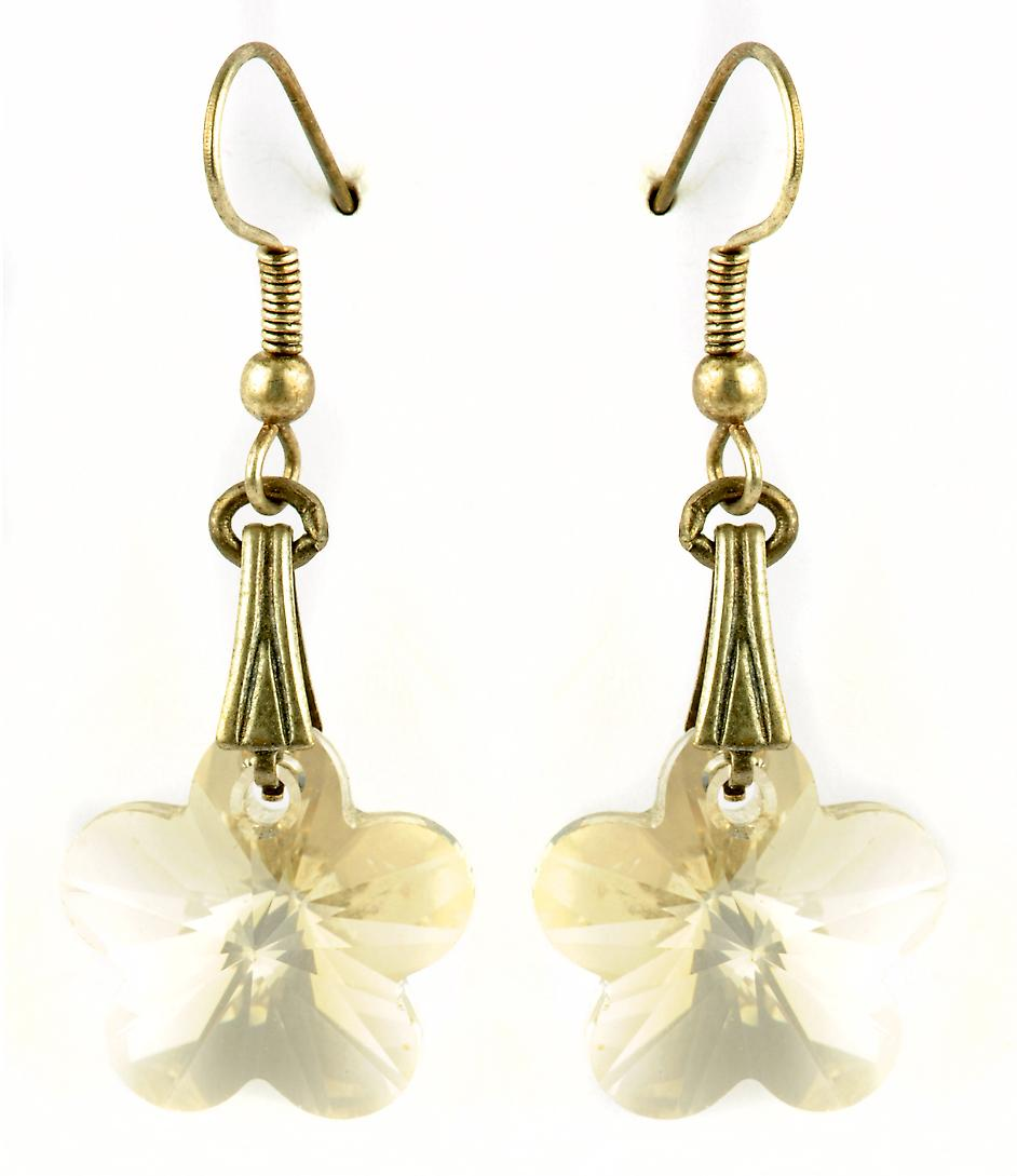 Waooh - Fashion Jewellery - WJ0767 - On Earrings with Swarovski shaped Blanche Fleur - Frame Color Silver Old