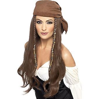 Lange braune geraden Perücke, Piraten-Perücke, braun, mit Kopftuch, Perlen und Charms