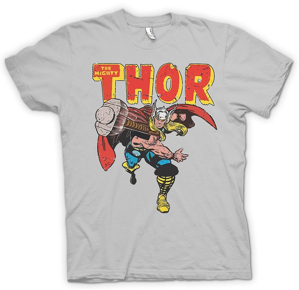 Heren T-shirt - de Mighty Thor gooien van hamer - superheld