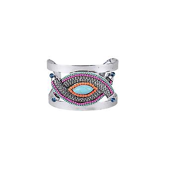 Lovemystyle Silver Bangle With Tribal Bead Embellishment