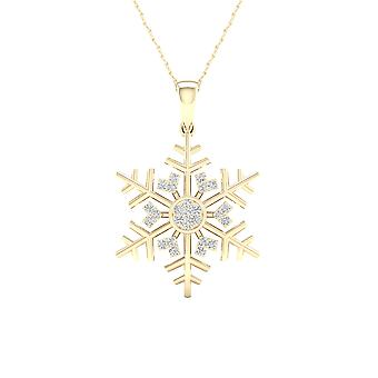IGI Certified Imperial 1/10Ct TDW Diamond 10K Yellow Gold Snowflake Pendant Necklace (H-I, I2)
