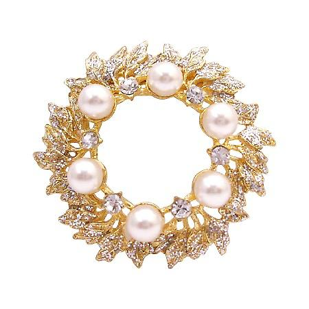 The Intricate Gold Plated Brooch Pin Glittering Cubic Zircon & Pearls