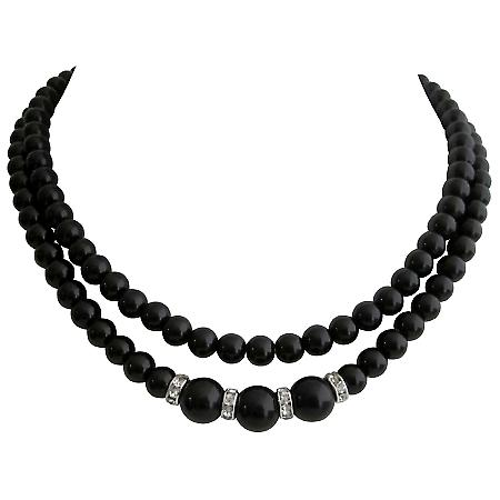 Handmade Wedding Necklace Black Pearls Double Strand Necklace