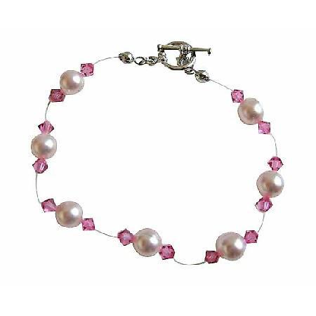Rose Pink Swarovski Crystals Pearls Bracelet Bridal Swarovski Bracelet