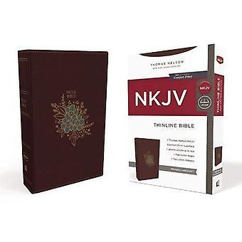 NKJV, Thinline Bible, Standard Print, Imitation Leather, Burgundy, Red Letter Edition, Comfort Print