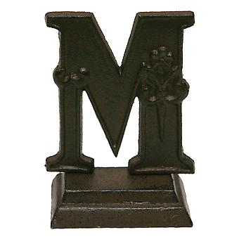 Iron Ornate Standing Monogram Letter M Tabletop Figurine 5 Inches