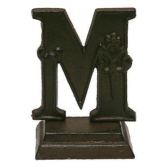الحديد الدائمة المزخرفة مونوغرام الحرف M منضدية التمثال 5 بوصات