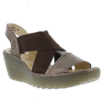 Womens Fly London Yaji Idra Leather Cut Out Summer Open Toe Wedge Sandals