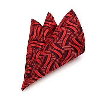 Bright red & black arc pattern pocket square hanky