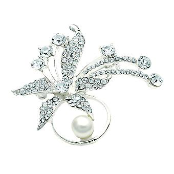 Crystal, Silver Tone and Cream Mock Pearl Flower Brooch