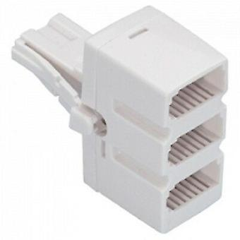 BT Triple telephone Phone socket 3 way splitter plug low profile white quality