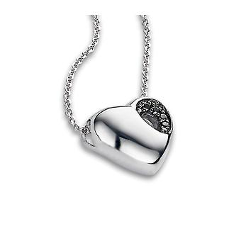 PENDANT WITH CHAIN HEART 925 SILVER BLACK ZIRCONIUM