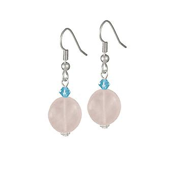 Eternal Collection Fontaine Rose Quartz And Austrian Crystal Drop Pierced Earrings