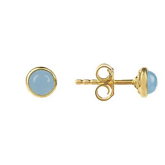 Latelita 925 Sterling Silver Gold Small Stud Blue Chalcedony Gemstone Earrings