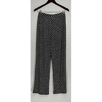 Susan Graver Donne's Pantaloni XXS Stampa Liquid e maglia Comfort Vita Nero A274515